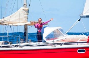 Laura aboard her 38ft Gin Fizz ketch Guppy