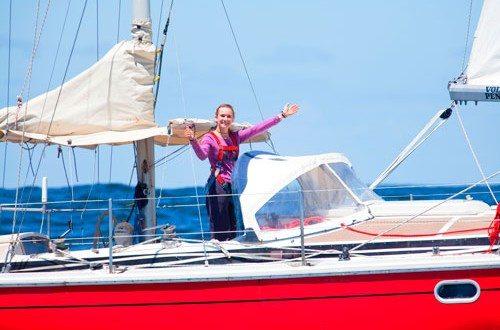 Laura aboard her 38ft Gin Fizz ketch Guppy