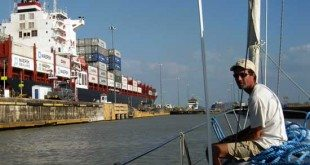 Motoring into Pedro Miguel Lock amongst the biggest ships in the world