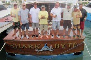 Aboard the Winning Boat, from left: Chris Wood, John Bayliss, Bryce Garvey, Nick Rauco, Capt. Rich Barrett, Pete Cherasia, Kyle Francis and Brandon Walton