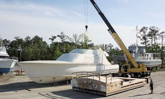 Construction is in progress on Blank Check, Jarrett Bay Boatworks' largest new build to date at 77'. Photo courtesy of Jarrett Bay Boatworks