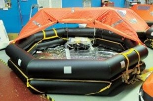 IBAs are similar to this cruise ship inflatable life raft but they do not require a canopy. Photo: Dean Barnes
