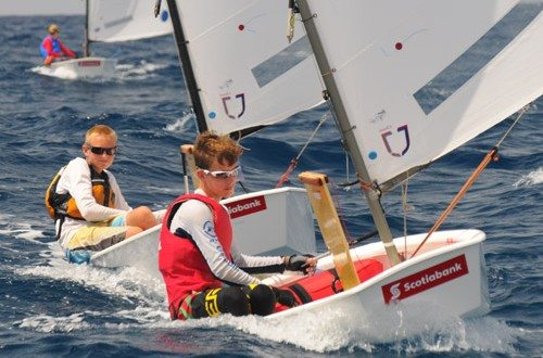 The USA's Will Logue, winner of the 20th Scotiabank International Optimist Regatta. Credit: Dean Barnes