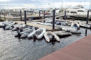 The dinghy dock at Sunset Bay Marina and Anchorage is always busy with cruisers coming in from the mooring field in Stuart Florida. Photo by Judy Prestia-Nichols