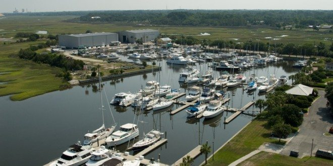 Aerial view of Amelia Island Yacht Basin