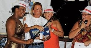 Female Angler Allison Devaux (center) of Pair A Dice from Trinidad Tobago. Photo curtsey of SLIBT