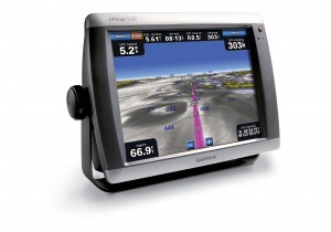 Garmin Chartplotter displaying Garmin's G2Vision cartography offering auto-routing technology.