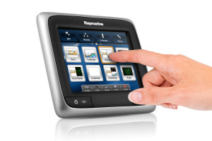Raymarine's new compact a Series touch screen chartplotter.