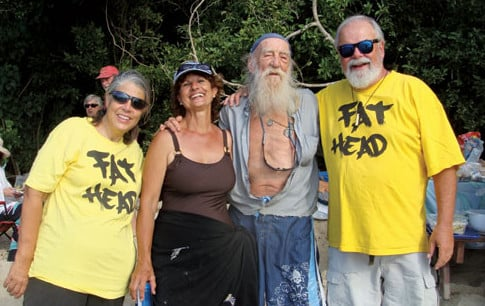 (L-R) Deb Clausen, Carolyn Goodlander, Pirate Bill, Greg Clausen gather at Fatty's 60th birthday party... Fat Heads all!