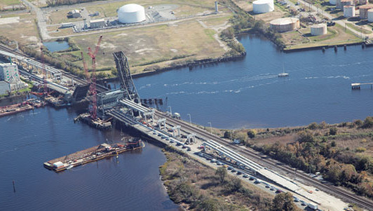 Traffic pauses during construction work on the Gilmerton Bridge over the Elizabeth River segment of the ICW in Virginia. Photo courtesy of Virginia Department of Transportation