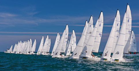 Expect Charleston Race Week to produce scenes like this one from Key West Race Week. Photo courtesy of J Boats