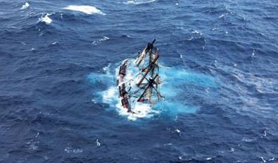 Bounty sinks in heavy seas. Photo courtesy of USCG