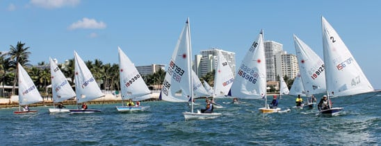 Laser fleet preparing for the start sequence at the Boomerang Regatta. Photo by Terry Boram