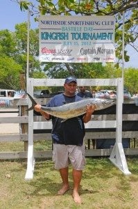 Vince Bryan wins the Largest Kingfish Prize in the 2012 Bastille Day Kingfish Tournament