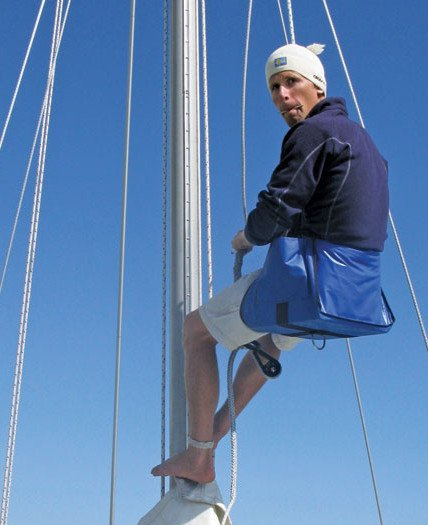 A comfortable bosun's chair helps make a sail rig inspection check a breeze. Photo by Maria Karlsson