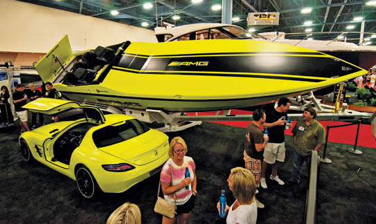 Cigarette and AMG display their joint venture at the Miami International Boat Show debuting an electric powered high performance offshore boat borrowing technology from AMG's Formula 1 technology and high performance electric powered sports cars. Photo by Glenn Hayes