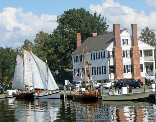 An assortment of vessels visit the historic waterfront in Edenton. Photo by Jo Lucey