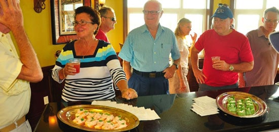 IT'S BLUE MONDAY PARTY TIME every Monday from 5:30 to 7:30 p.m. in the crew bar on the first floor of our main building. All marina guests are invited to join us for free rum punch and finger food and a chance to meet and exchange views with our staff and other members of the yachting fraternity. (EMERALD BAY MARINA PHOTO)