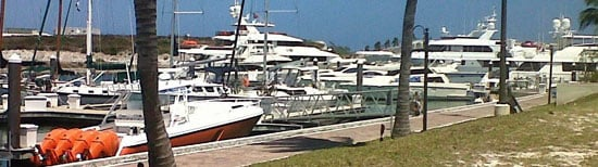 IT TAKES ALL KINDS OF BOATS TO MAKE A MARINA and we sure get them here with our mixed collection of go-fast boats, cruising yachts and mega yachts of all types. This is what D and F docks at Emerald Bay Marina looked like in mid May. (EMERALD BAY MARINA PHOTO)