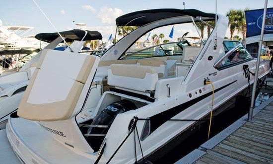 Sea Ray's 370 Venture. The Express Cruiser with the Outboard Motors. Photo by Glenn Hayes