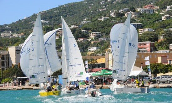 Keen competition meant some matches overlapped last year at the Carlos Aguilar Match Race. Credit: Dean Barnes