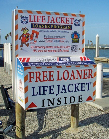 The Coast Guard Auxiliary in Corpus Christi, Texas, has a box of loaner jackets at the city boat ramp. Photo by Rob Lucey