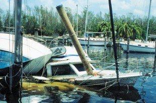 Sunken vessel after a hurricane
