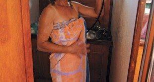 Carolyn taking a shower on SY Ganesh