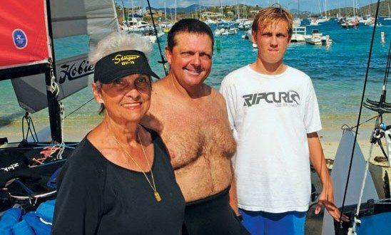 Sailing family (from left): Louise Johnson, John Holmberg, Kai Holmberg. Photo: Dean Barnes