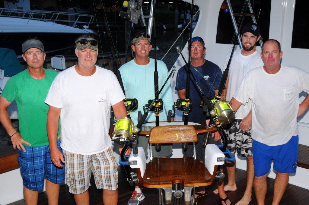 Wave Paver fishes their first ABMT and finishes the first day in a close second. L to R: Jason Parker, Jr. Davis, Capt. Russell Sinclair, Jerry Owens, Ryan House and Scott Glasscock. Credit: Dean Barnes