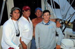 St. Thomas-based charter fishing boat, Marlin Prince, is making this year's tournament a family affair. L to R: Thomas Kopko, father and Marlin Prince owner, Fred Kopko, Capt. Eddie Morrison, and son/mate, Travis Morrison, who celebrated his 16th birthday August 20th.