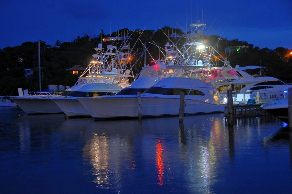 Some of the fishing fleet at night at IGY's American Yacht Harbor Marina. Credit: Dean Barnes
