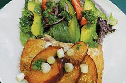 Pan Seared Swordfish with Peaches