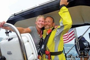 Scott and Jennifer Brigham aboard their Valiant 40, Pendragon in the Caribbean 1500