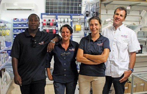 Island Water World store, Marigot. Manager Valerie Leroy (second right), merchandiser Andy Peterson (left), cashier/accountant Fanny Leroy (second left), and responsible for sales and customer service Alex Moore. Photo courtesy of Robert Luckock