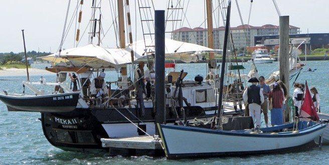 The Meka II, a 54-foot, 18-ton wooden brigantine, is a ¾-scale replica of a 17th century pirate vessel.