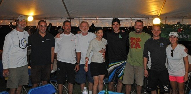 2013 CAMR Skippers L to R: USA's Dave Perry, Greece's Stratis Andreadis, USVI's Peter Holmberg, USA's Dave Dellenbaugh, USA's Jennifer Wilson, USA's Chris Poole, BVI's Colin Rathbun, Finland's Antti Luhta, and the USA's Stephanie Roble. Missing, the USA's Don Wilson. Credit: Dean Barnes