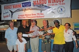 Wahoo Windup Best Boat: Abigail III (from left) Paul Meyer (Tournament Director), Capt. Red Bailey, Dr. David Weisher, Mike Landgraf, Ariel Donovan and Kathy Kurtz. In front, Mathew Meyer. Photo: Dean Barnes