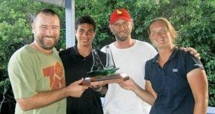 Pete Sheals Memorial Match Race Winners (from left): Colin Rathbun, Jason Putley, Paul Exner and Claudia Delahoy, with their trophy on the deck at the RBVIYC