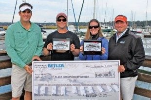 Wes Hudson from Shallow Sport, the winning anglers and Chris from Butler Marine. Photo by Jeff Dennis