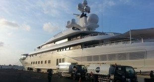 Yacht docked in Indonesia