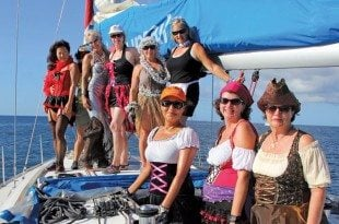 The Rockstars dressed in costume for buoy races off Statia during GRR. Photo: Jaqueline Van de Weijer