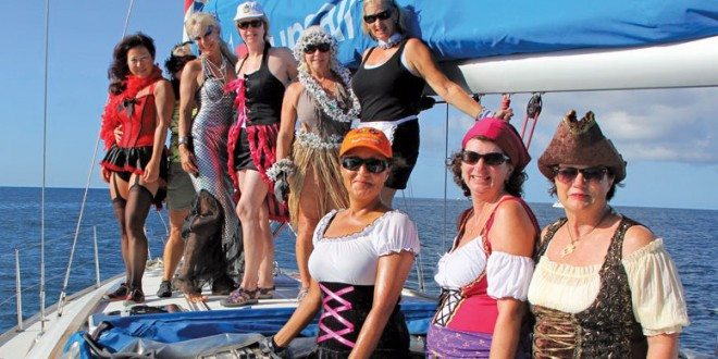 The Rockstars dressed in costume for buoy races off Statia during GRR. Photo: Jaqueline Van de Weijer
