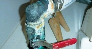 Leak causing corrosion that can lead to fitting failure. Photo by Capt. Wayne Canning, AMS