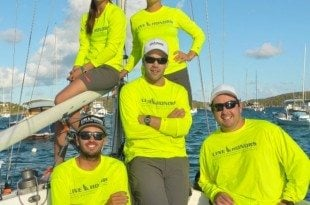 The USVI's Team Line Honors: L to R: Top: Taylor Ladd, Stephanie Roble, Bottom L to R: Taylor Canfield, Matt Clark and Mike Rehe. Credit: Christine Thompson.