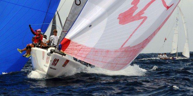 Puerto Rico's Luis Juarbe's Melges 32, Soca, sails downwind into Charlotte Amalie harbor. Credit: Dean Barnes