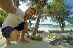 Coconut harvesting at Pete's Pub. Photo by Andy Schell