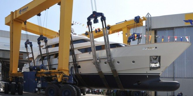 "Sanlorenzo has just launched ""O"", the first SD112 unit – a 33.6-meter semi-displacement motoryacht in composite material, made to measure according to the tastes and the style of her owner"