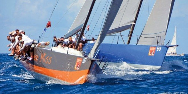 Near Miss and Balearia, two TP 52s, appear to match-race in the CSA Racing 0 Class. Photo: Dean Barnes