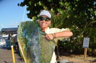 Top Angler St. Croix's Beth Basinski with her 35.3-pound dolphin (mahi-mahi) . Credit: Dean Barnes